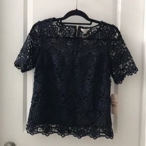 NEW Nanette Lepore small navy lace blouse shirt